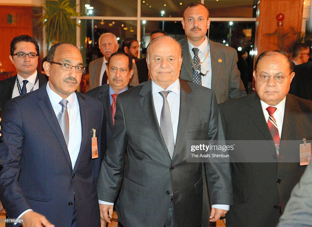 Yemeni President <a gi-track='captionPersonalityLinkClicked' href=/galleries/search?phrase=Abd+Rabbuh+Mansur+Hadi&family=editorial&specificpeople=9836032 ng-click='$event.stopPropagation()'>Abd Rabbuh Mansur Hadi</a> (C) arrives at a hotel to attend the Arab League Summit on March 28, 2015 in Sharm El-Sheikh, Egypt. Hadi fled Yemen on March 25.