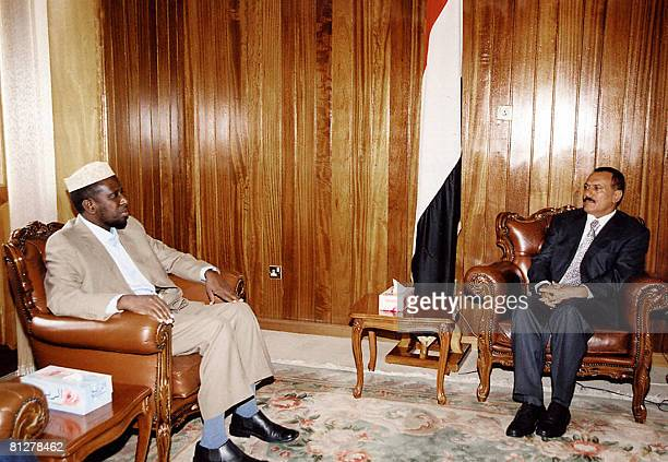 Yemeni president Ali Abdullah Saleh receives the head of former Somali Islamic Courts Sheikh Sherif Ahmed in the Yemeni capital Sanaa on May 29 2008...