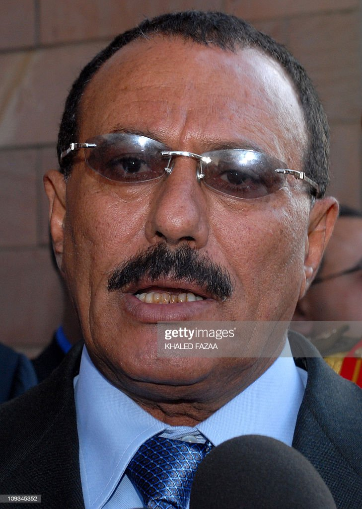 Yemeni President <a gi-track='captionPersonalityLinkClicked' href=/galleries/search?phrase=Ali+Abdullah+Saleh&family=editorial&specificpeople=221711 ng-click='$event.stopPropagation()'>Ali Abdullah Saleh</a> speaks to the media after a meeting with Ethiopian Prime Minister Meles Zenawi (unseen) at the presidential palace in Sanaa on November 27, 2008. Zenawi is on an official visit to Yemen. AFP PHOTO/KHALED FAZAA