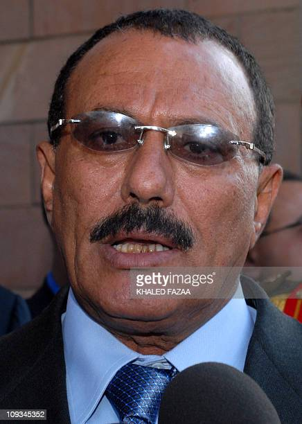 Yemeni President Ali Abdullah Saleh speaks to the media after a meeting with Ethiopian Prime Minister Meles Zenawi at the presidential palace in...
