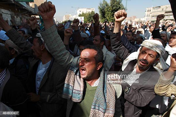Yemeni protesters call for the resignation of the government during a demonstration in Sanaa on January 23 in protest against the assassination of a...