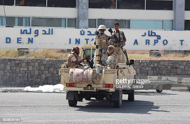 Yemeni security forces loyal to President Abedrabbo Mansour Hadi guard Aden's international airport after Popular Resistance Committees fighters...