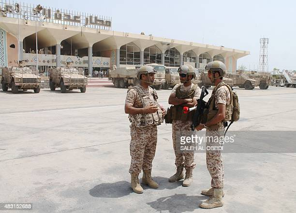 Yemeni security forces stand at the airport in the southern city of Aden on August 6 2015 following the landing of the first civilian aircraft in...