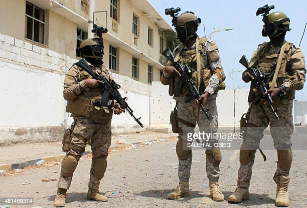 Yemeni special forces loyal to Saudibacked President Abedrabbo Mansour Hadi stand guard in Aden's Tawahi neighbourhood on July 20 2015 AFP PHOTO /...