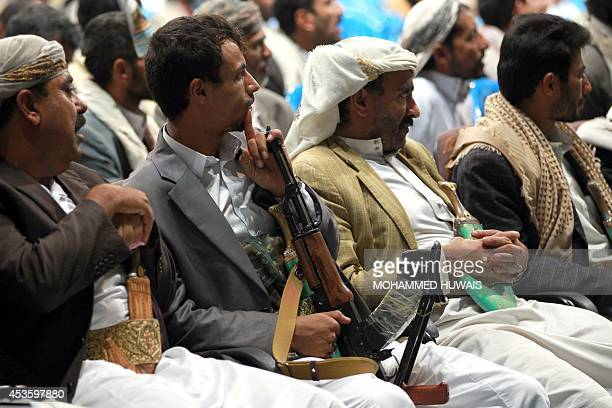Yemeni tribesmen attend a tribal meeting in the capital Sanaa on August 14 to discuss the recent AlQaeda attacks on the Yemeni military in the...