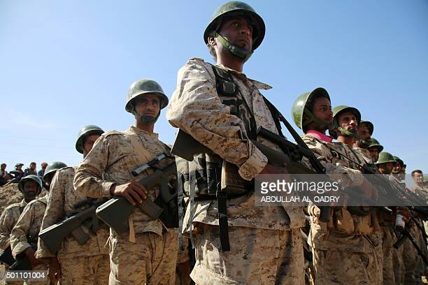 Yemeni troops loyal to their Saudibacked President Abedrabbo Mansour Hadi march during a parade military west of the cityof Marib some 170 kilometres...