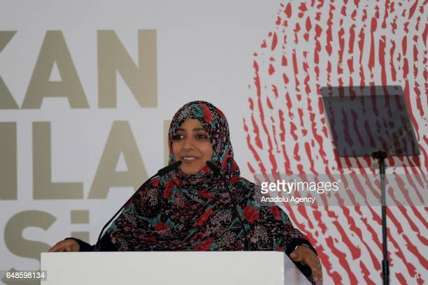 Yemeni women's rights activist and 2011 Nobel peace laureate Tawakkol Karman speaks during the opening ceremony of 'International Remarkable Women's...