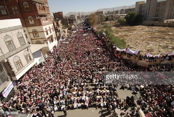 Yemenis attend a protest calling President Ali Abdullah Saleh to quit on January 27 2011 in Sanaa as thousands of Yemenis apparently inspired by...
