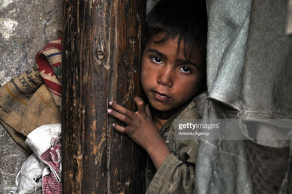 A Yemenis boy is seen in the Shwaob neighborhood as the political crisis in the country continues in Sanaa, Yemen on April 29, 2016.