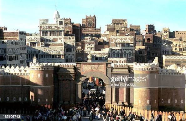 Yemenis enter Sanaa's Old City 17 January 2001 through Bab AlYaman or Yemen Gate renamed Liberty Gate after the revolution of 1962 The old city is...