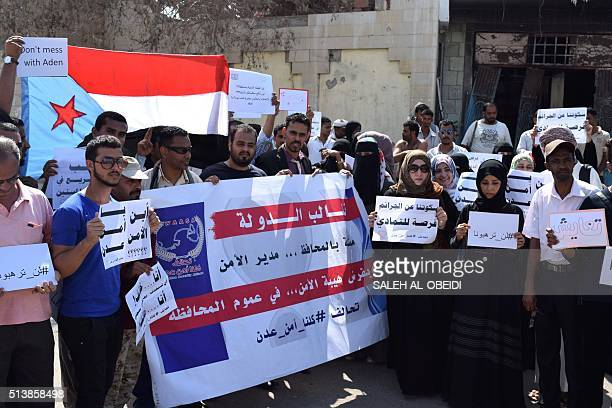 Yemenis gather on March 5 2016 outside Aden's security department to protest against an attack on an elderly care home in Yemen's main southern city...