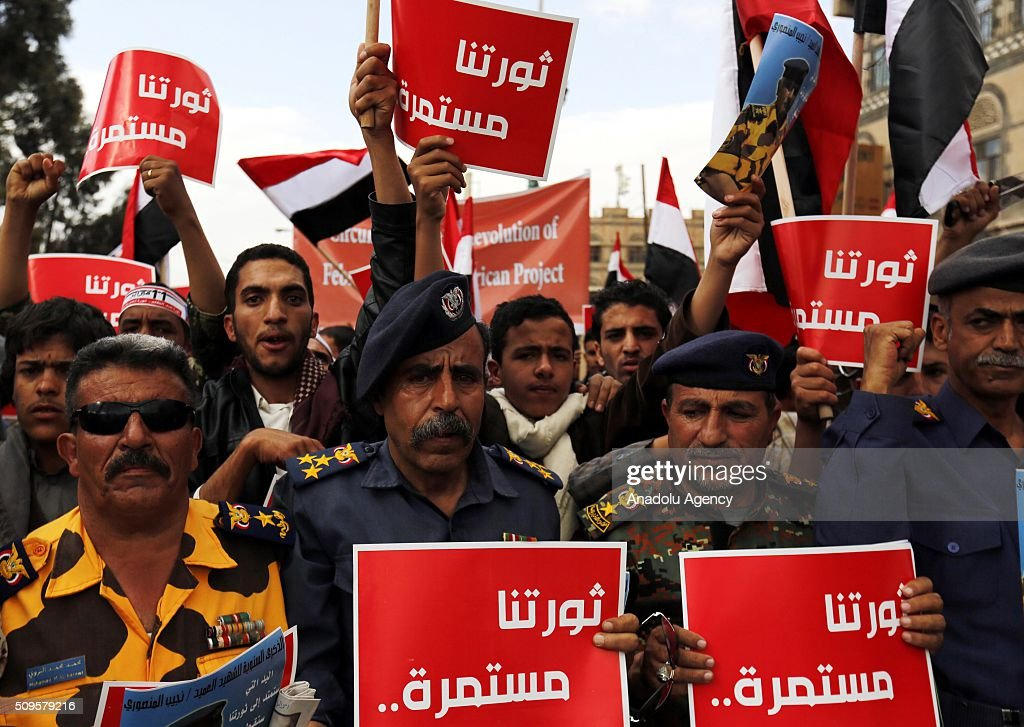 Yemenis gathered at Tagheer square celebrate the 5th anniversary of Yemeni Revolution in Sana'a, Yemen on February 11, 2016.