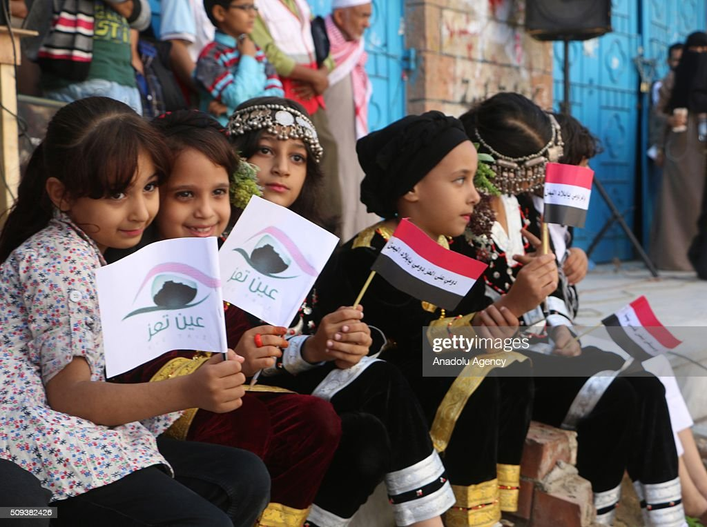 Yemenis gathered at the Jamal Abdul Nasser Street celebrate 5th anniversary of Yemeni Revolution in Taiz, Yemen on February 10, 2016.
