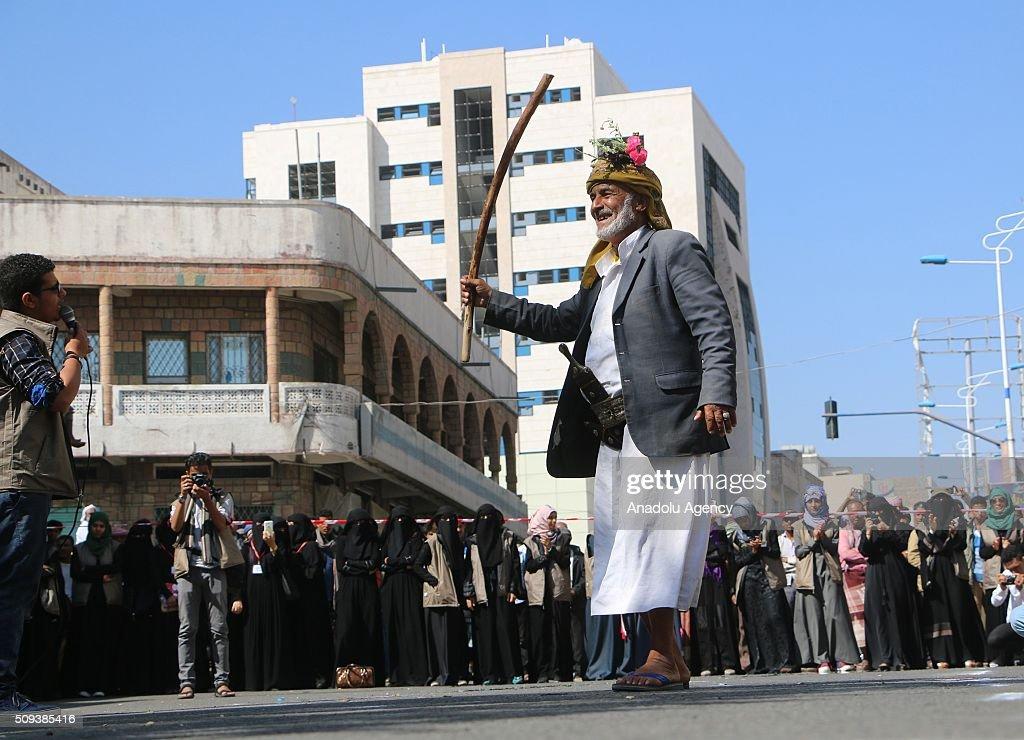 Yemenis gathered at the Jamal Abdul Nasser Street celebrate 5th anniversary of Yemeni Revolution in Taiz, Yemen on February 10, 2016.