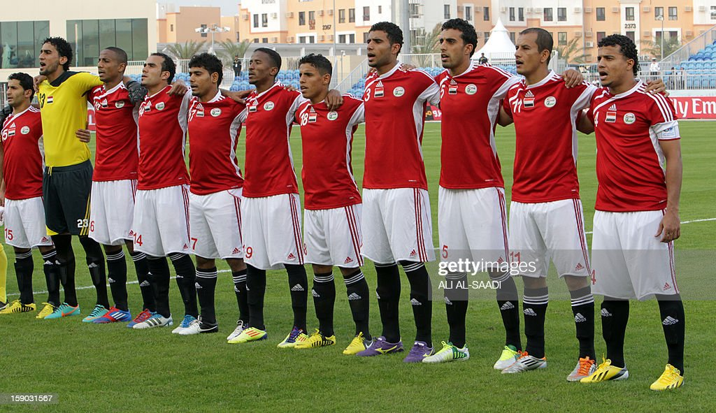 Yemens national team players line-up prior to the start of their Gulf Cup football match Kuwait versus Yemen, on January 6, 2013, in the Bahraini capital, Manama.