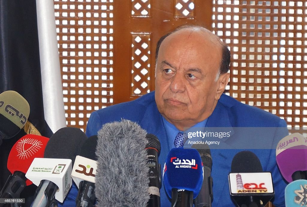 Yemen's President Abd Rabbuh Mansur Hadi holds a press conference as part the 'Consensus Building Talks' at the Presidency office in the city of Aden in south Yemen on March 10, 2015. Hadi asked for 'support' against the interventions of the Ansarullah Movement, who are based in Sana'a, in the politics of the country.