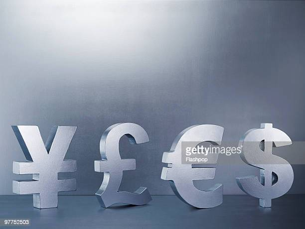 Yen, Pound, Euro and Dollar signs in a row