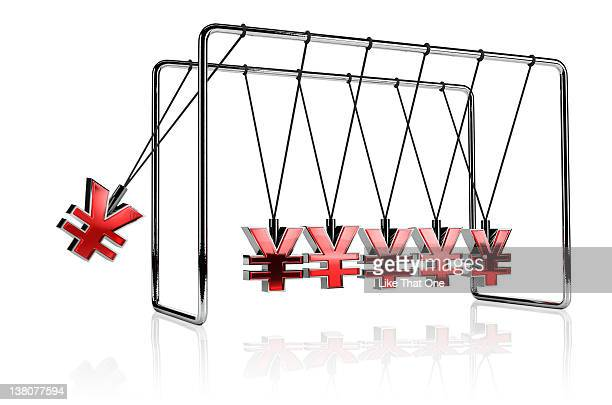 Yen symbols hanging from a Newton's Cradle