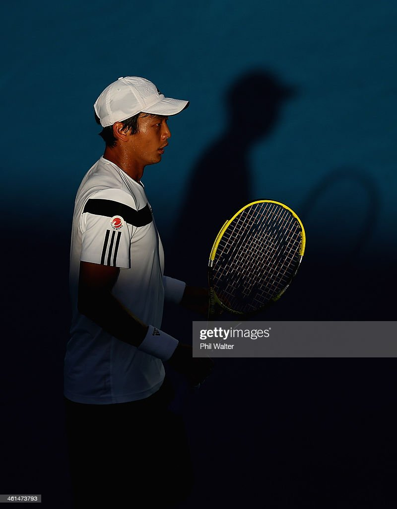 <a gi-track='captionPersonalityLinkClicked' href=/galleries/search?phrase=Yen-Hsun+Lu&family=editorial&specificpeople=584941 ng-click='$event.stopPropagation()'>Yen-Hsun Lu</a> of Chinese Taipei during his match against Steve Johnson of the USA during day four of the Heineken Open at ASB Tennis Centre on January 9, 2014 in Auckland, New Zealand.