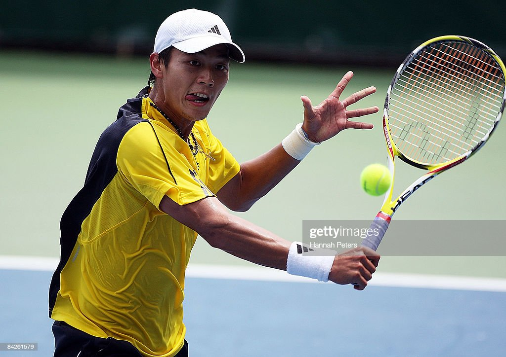 Yen-Hsun Lu of Chinese Taipei plays a backhand in his match against Steve Darcis of Belgium during day two of the Heineken Open at ASB Tennis Centre on January 13, 2009 in Auckland, New Zealand.