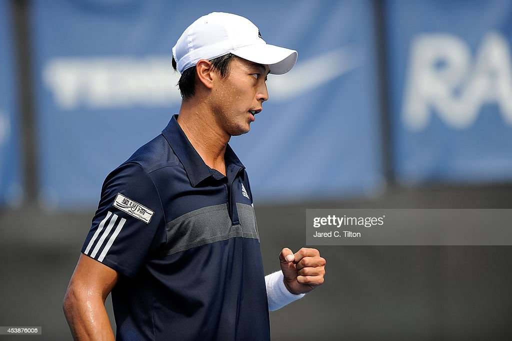 Yen-Hsun Lu of Chinese Taipei reacts after winning a point versus Marcel Granollers of Spain during the Winston-Salem Open at Wake Forest University on August 20, 2014 in Winston Salem, North Carolina.