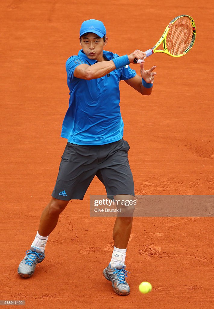 <a gi-track='captionPersonalityLinkClicked' href=/galleries/search?phrase=Yen-Hsun+Lu&family=editorial&specificpeople=584941 ng-click='$event.stopPropagation()'>Yen-Hsun Lu</a> of Taipei plays a forehand during the Men's Singles first round match against Novak Djokovic of Serbia on day three of the 2016 French Open at Roland Garros on May 24, 2016 in Paris, France.