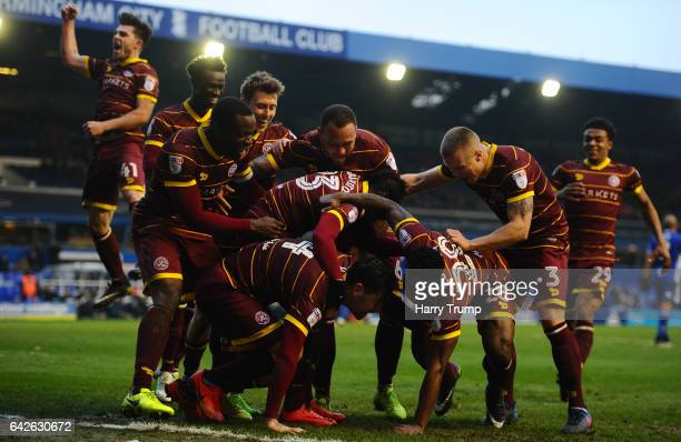 Yeni Atito Ngbakoto of QPR celebrates scoring his side's fourth goal during the Sky Bet Championship match between Birmingham City and Queens Park...