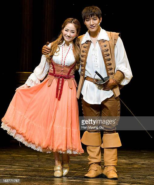 Yenny of girl group Wonder Girls and Junsu of boy band 2PM attend the Musical 'The Three Musketeers' Media Call at Chungmu Art Hall on March 14 2013...