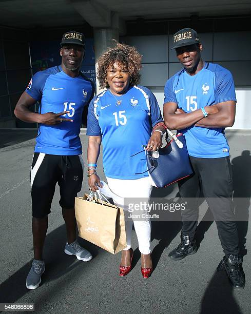 Yeo Pogba mother of Paul Pogba of France and her two other sons Florentin Pogba and Mathias Pogba attend the UEFA Euro 2016 final match between...