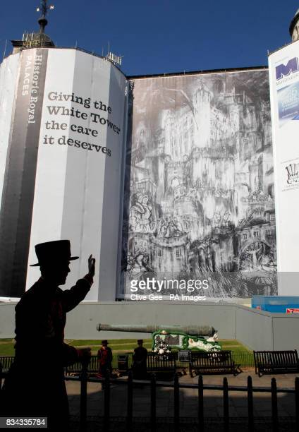 A Yeoman Warder popularly known as a Beefeater poses in front of the winning entry by artist Rydal Hanbury from St Albans of the Tower of London's...