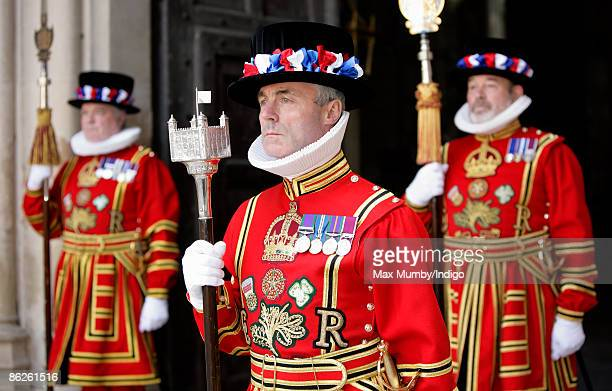 Yeoman Warders at a commemoration service for 500th Anniversary of the death of King Henry VII at Westminster Abbey on April 28 2009 in London England