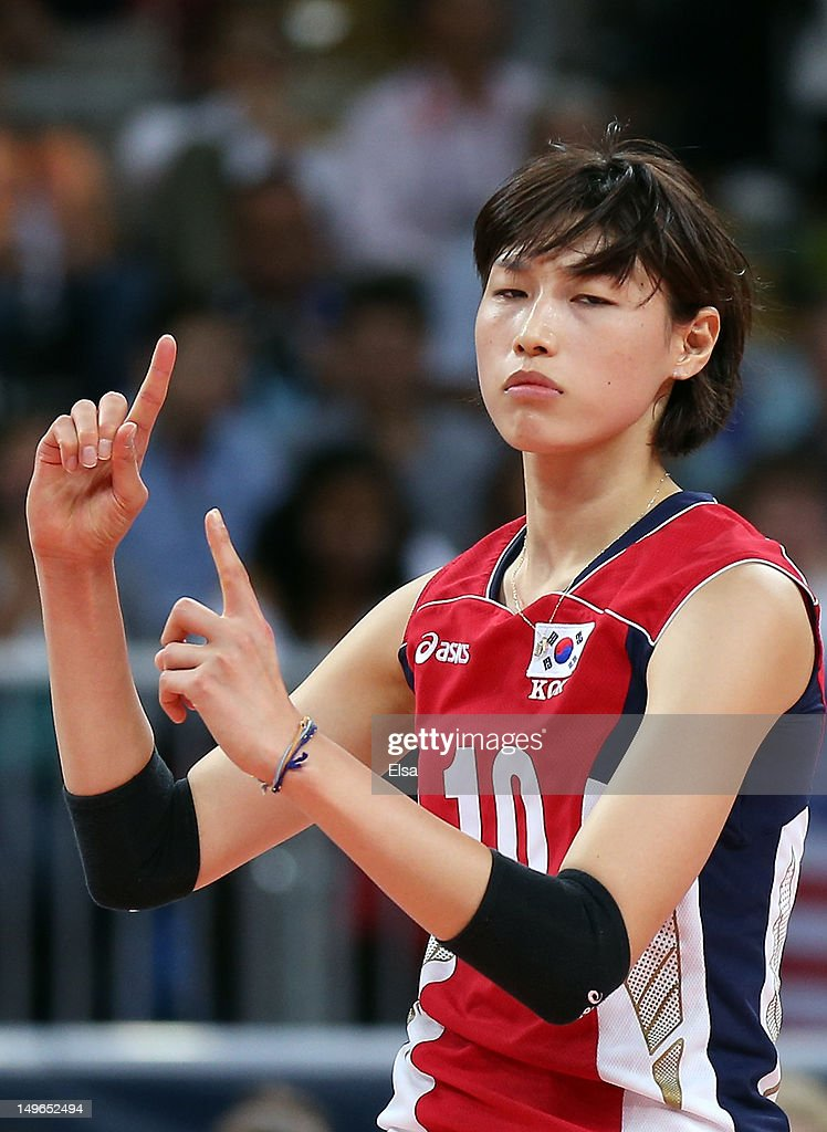Yeon-Koung Kim #10 of Korea celebrates her point in the first set against Brazil during Women's Volleyball on Day 5 of the London 2012 Olympic Games at Earls Court on August 1, 2012 in London, England.