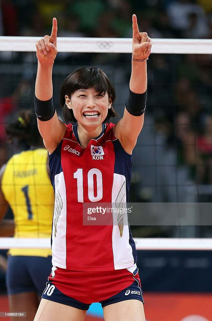 Yeon-Koung Kim #10 of Korea celebrates her point in the third set against Brazil during Women's Volleyball on Day 5 of the London 2012 Olympic Games at Earls Court on August 1, 2012 in London, England.
