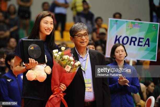 Yeonkoung Kim of Korea takes 2nd Best Outside Spiker awards during the 19th Asian Senior Women's Volleyball Championship 2017 Final match between...