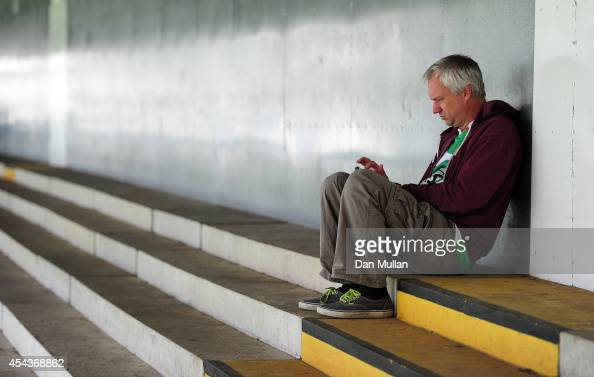 Yeovil Town fan arrives early to mark his spots on the terrace during the Sky Bet League One match between Yeovil Town and Barnsley at Huish Park on...
