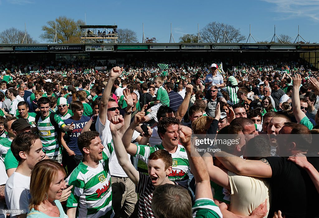 Yeovil Town fans invade the pitch after their side won the npower League One Play Off Semi Final second leg match between Yeovil Town and Sheffield United at Huish Park on May 6, 2013 in Yeovil, England.