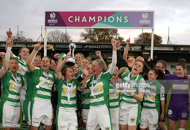 Yeovil Town Ladies celebrate winning WSL 2 after beating Sheffield FC Ladies at Huish Park on November 6 2016 in Yeovil England