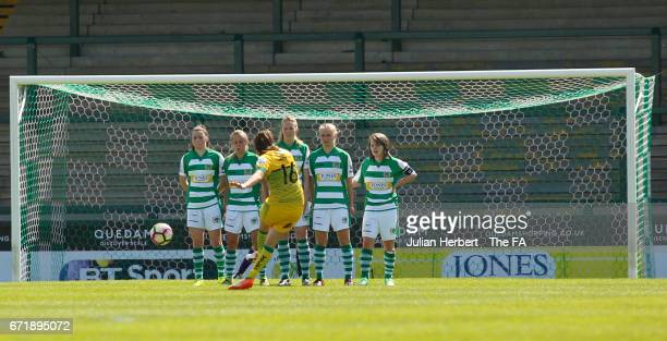 Yeovil Town Ladies defence look on as Caroline Weir of Liverpool Ladies FC takes a free kick during the WSL Spring Series Match between Yeovil Town...