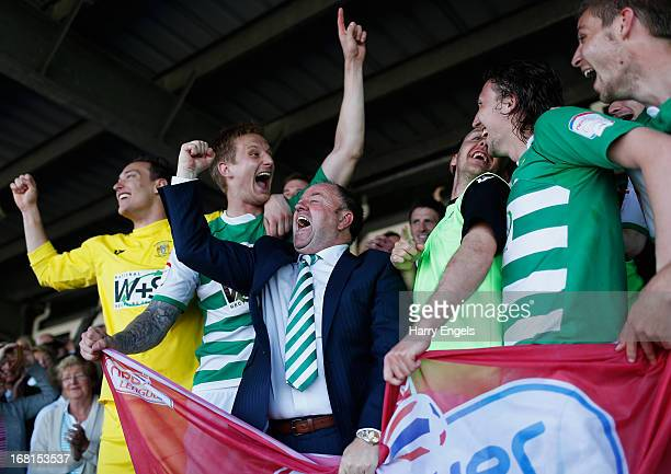 Yeovil Town manager Gary Johnson celebrates with his players after winning the npower League One Play Off Semi Final second leg match between Yeovil...