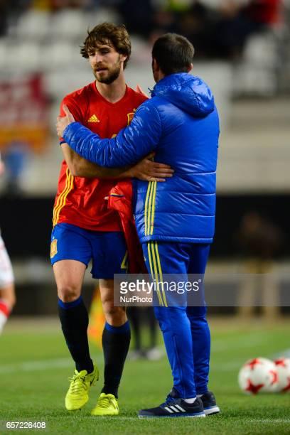Yeray Alvarez Albert Celades during the friendly match of national teams U21 of Spain vs Denmark in stadium Nueva Condomina Murcia SPAIN March 23rd...
