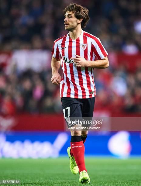 Yeray Alvarez of Athletic Club looks on during the La Liga match between Sevilla FC and Athletic Club de Bilbao at Estadio Ramon Sanchez Pizjuan on...