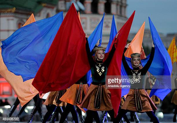 'Yerevan drums and Armelad of Armenia perform during the Spasskaya Tower international military music festival in Moscow's Red Square on August 30...
