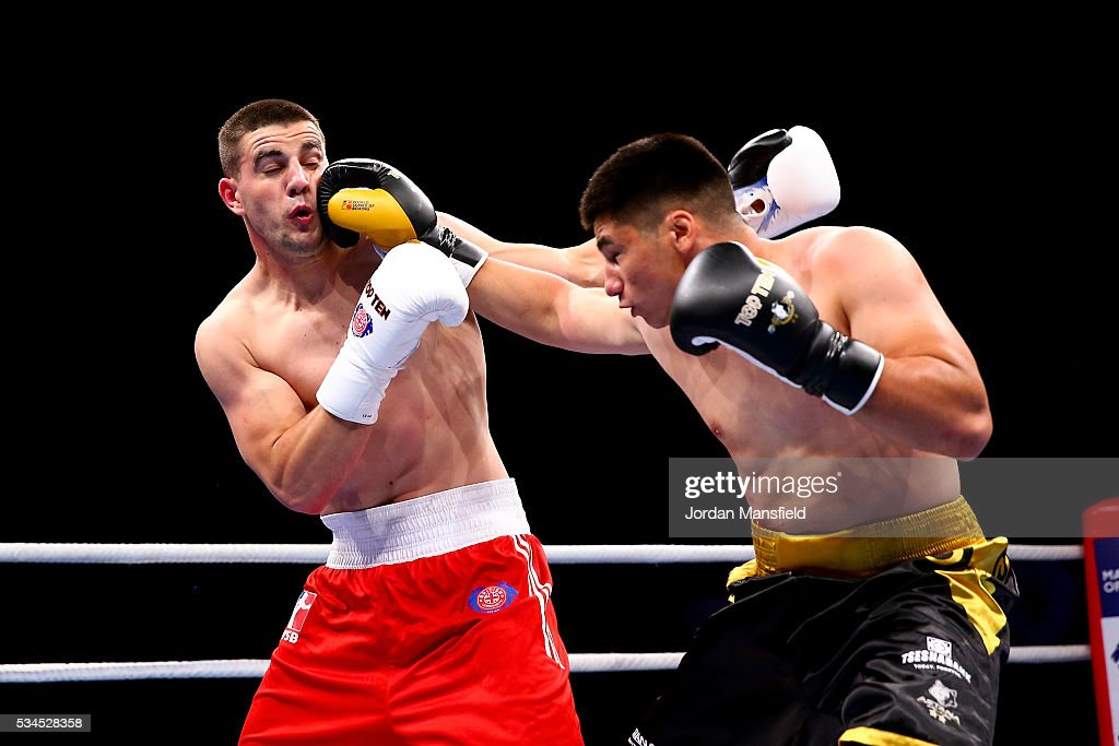 Yerkin Mukametzhan of Astana Arlans (R) in action against Josip-Bepo Filipi of British Lionhearts (L) in the semi-final of the World Series of Boxing between the British Lionhearts and Kazakhstan at York Hall on May 26, 2016 in London, England.