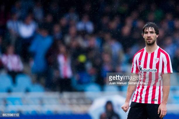 Yerran Alvarez of Athletic Club Bilbao reacts during the La Liga match between Real Sociedad de Futbol and Athletic Club Bilbao at Estadio Anoeta on...