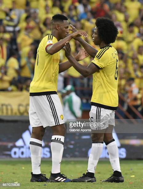 Yerry Mina and Carlos Sanchez of Colombia celebrate the victory after a match between Colombia and Bolivia as part of FIFA 2018 World Cup Qualifiers...