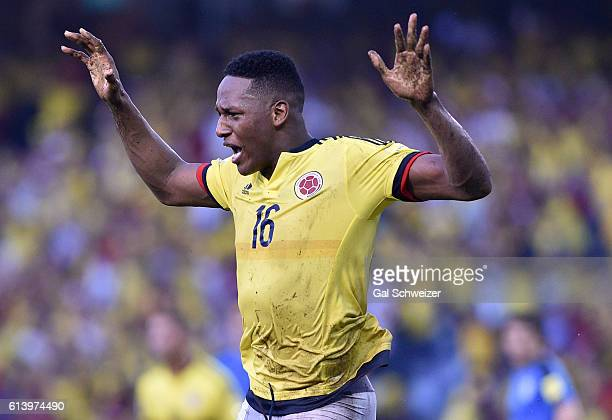 Yerry Mina of Colombia celebrates after scoring the second goal of his team during a match between Colombia and Uruguay as part of FIFA 2018 World...