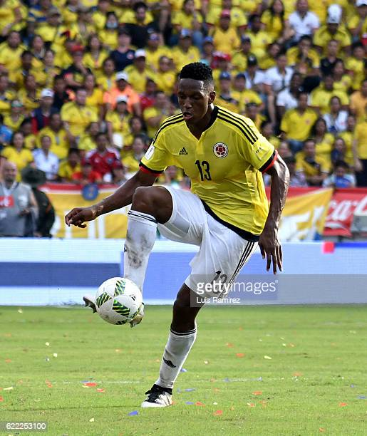 Yerry Mina of Colombia controls the ball during a match between Colombia and Chile as part of FIFA 2018 World Cup Qualifiers at Metropolitano Roberto...