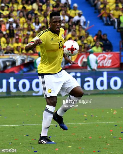 Yerry Mina of Colombia controls the ball during a match between Colombia and Bolivia as part of FIFA 2018 World Cup Qualifiers at Metropolitano...