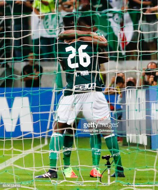 Yerry Mina of Palmeiras celebrates their first goal during the match between Palmeiras of Brazil and Jorge Wiltersmann of Bolivia for the Copa...