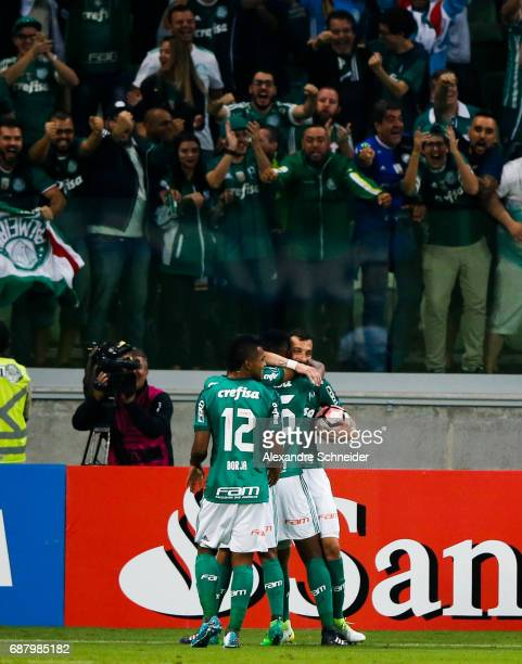 Yerry Mina of Palmeiras of Brazil celebrates with his teammates after their fiirst goal during the match between Palmeiras and Atletico Tucuman for...